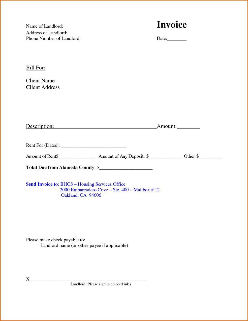 Rental Invoice Template Microsoft Word