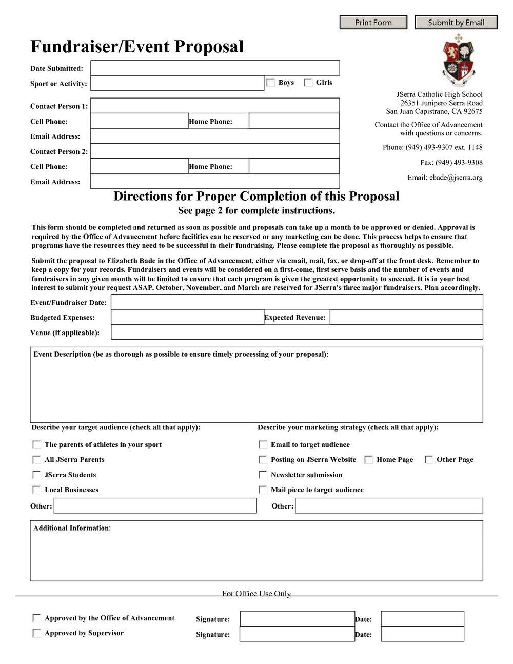 School Fundraising Proposal Template