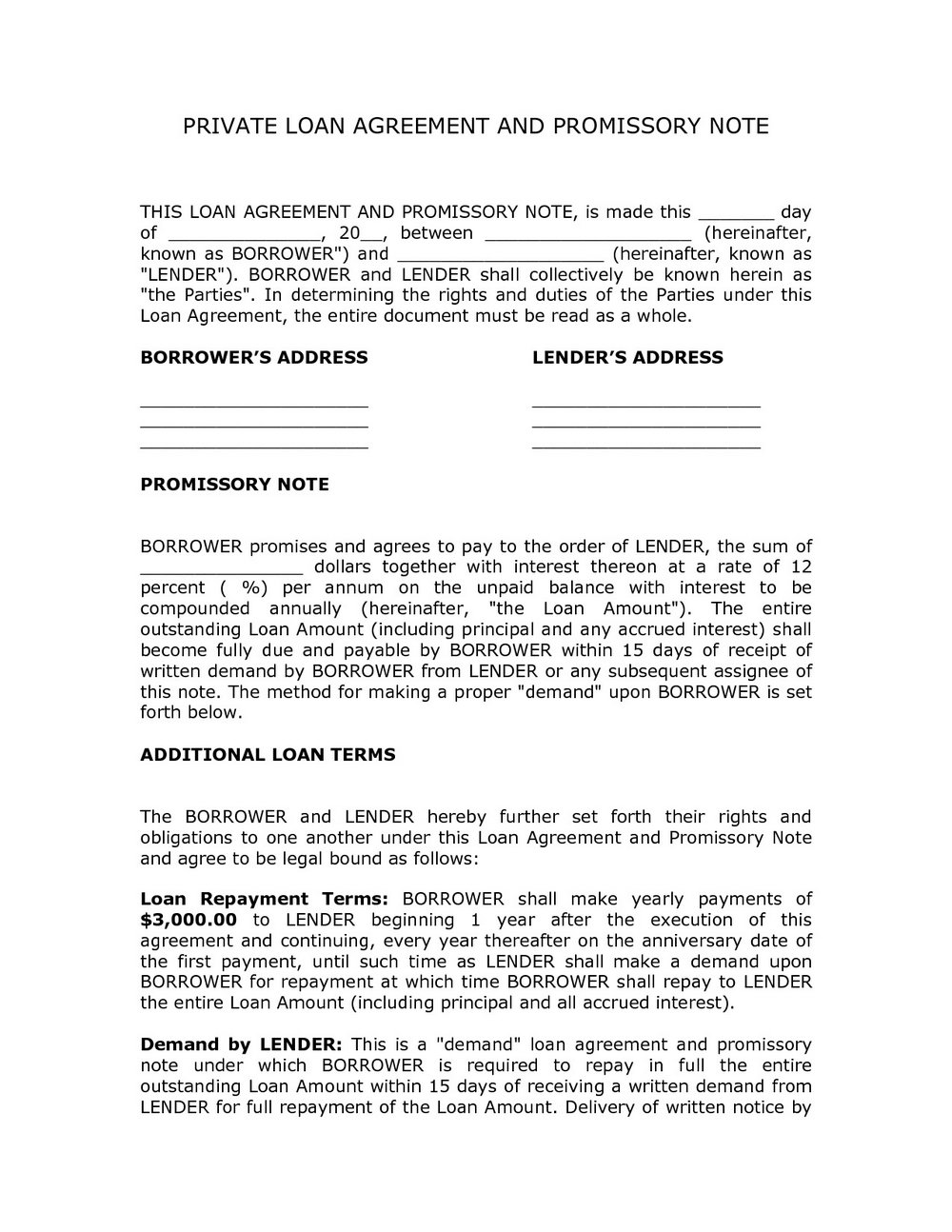 Secured Loan Agreement Template
