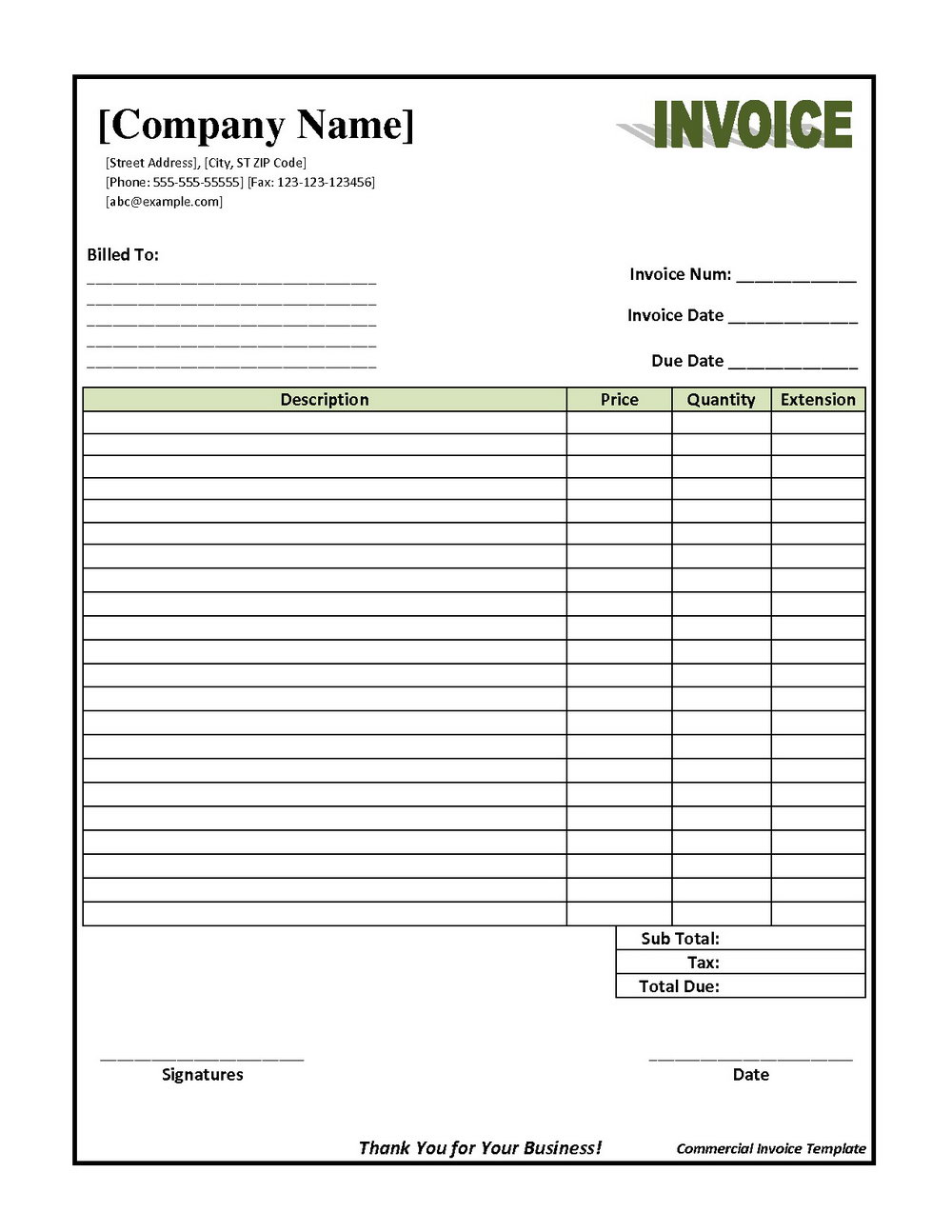 Shipping Company Invoice Template