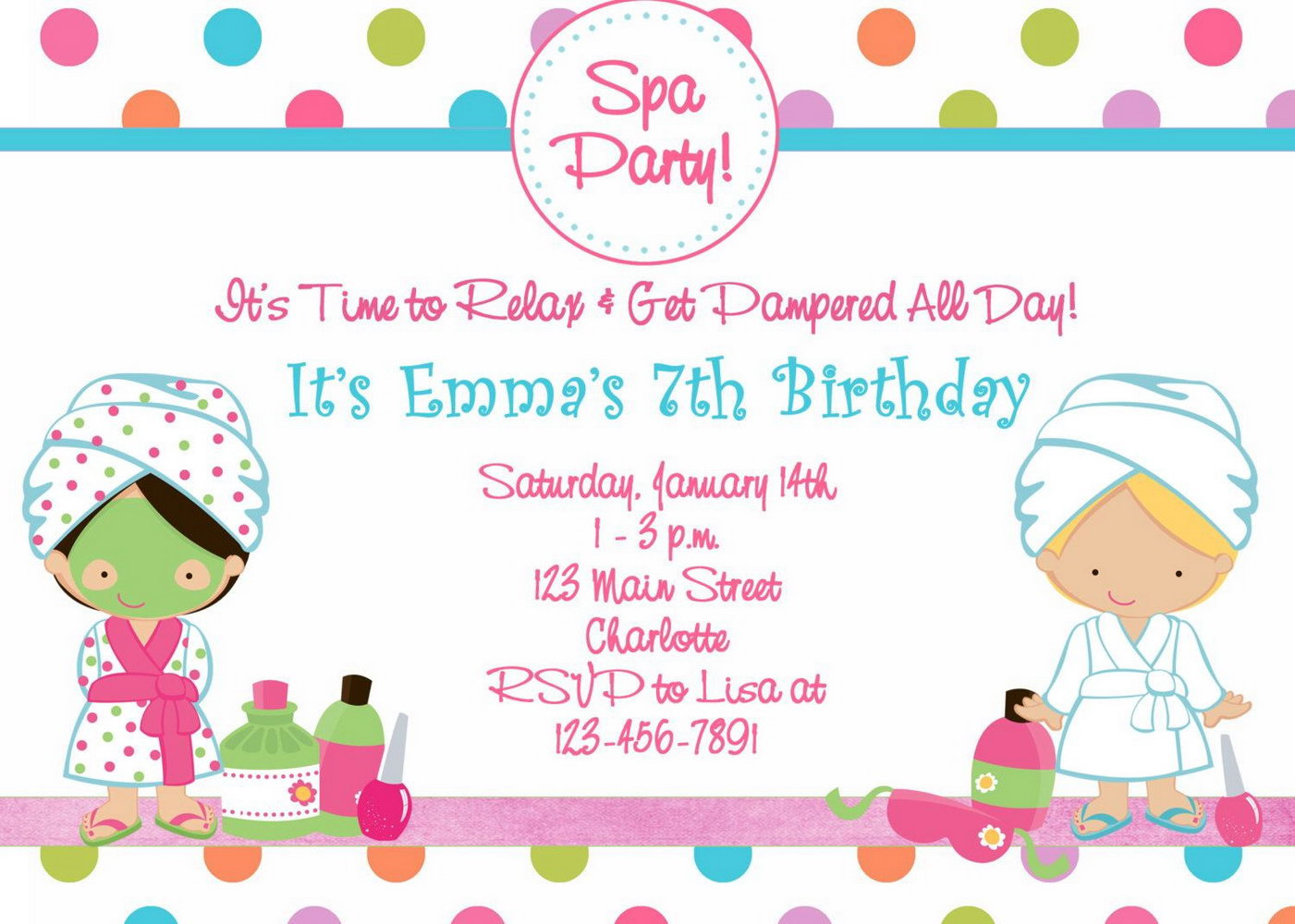 Spa Birthday Invitation Template Free