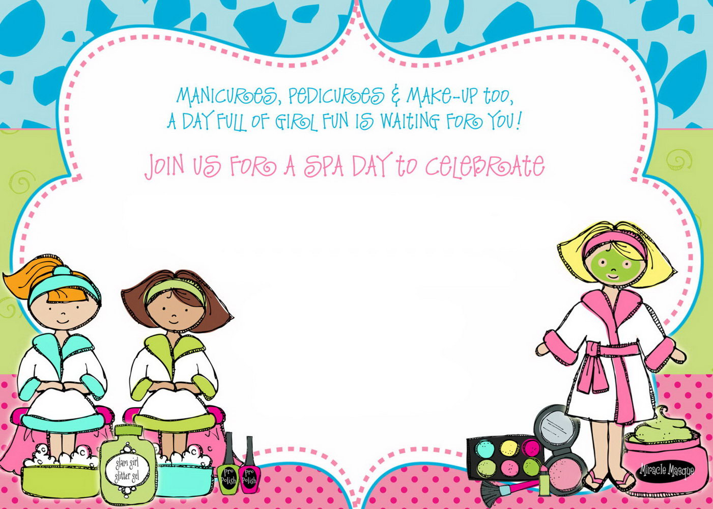 Spa Birthday Party Invitation Template Free