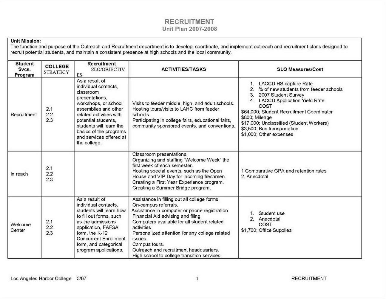 Student Retention Plan Template