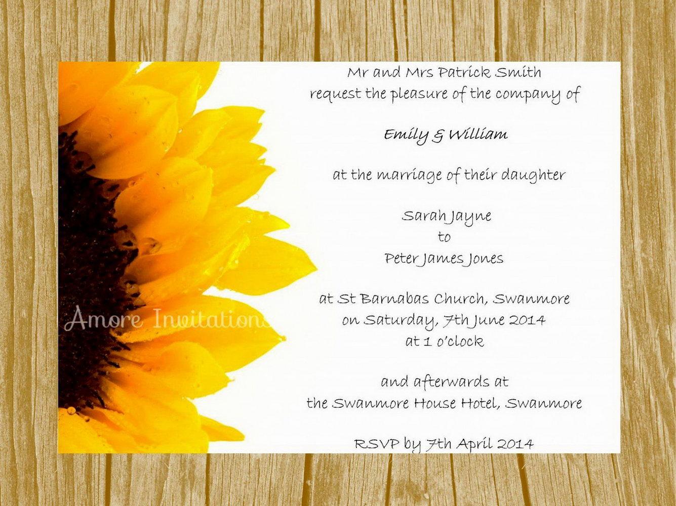 Sunflower Wedding Invitations Templates