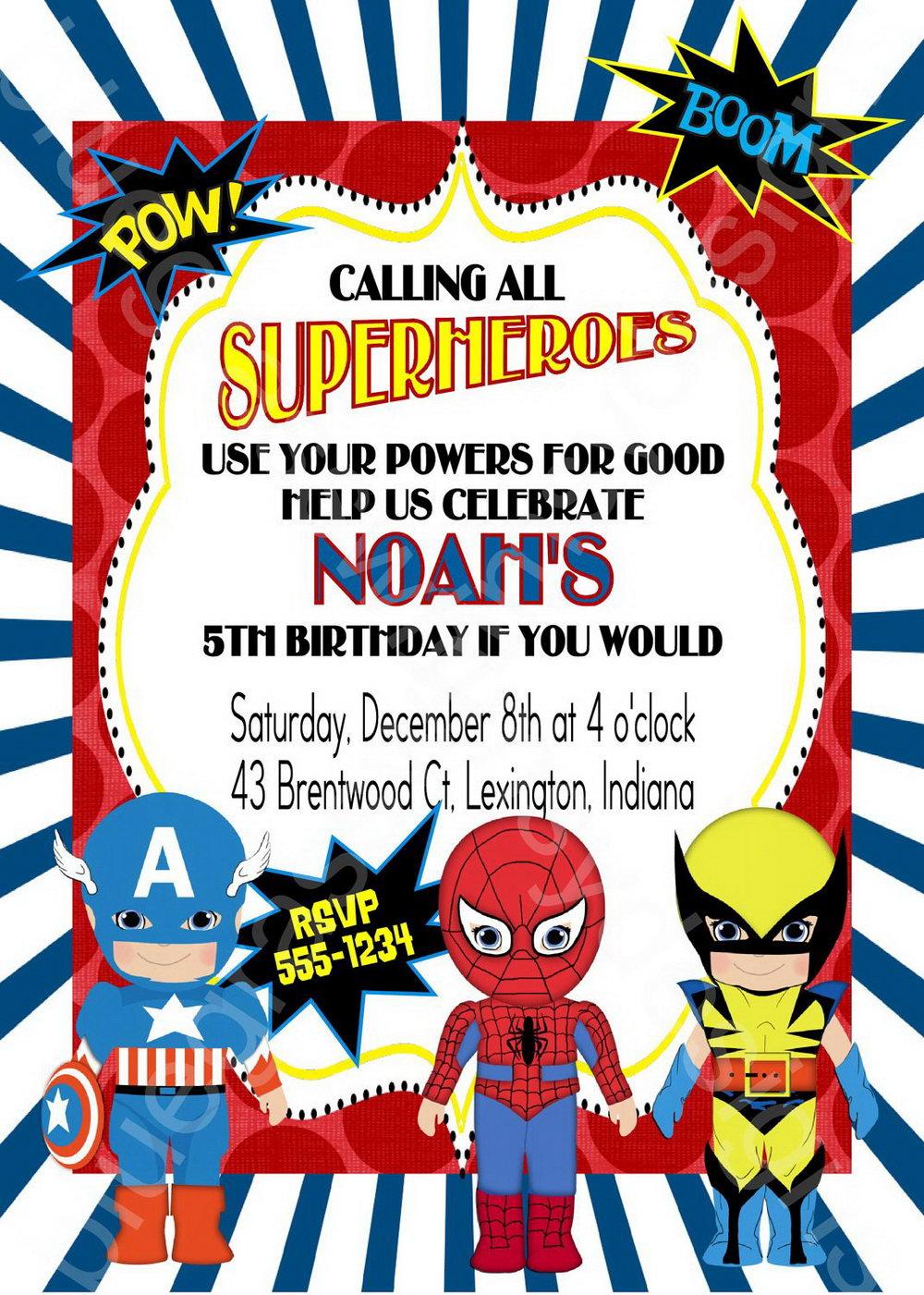 Superhero Birthday Party Invitation Templates