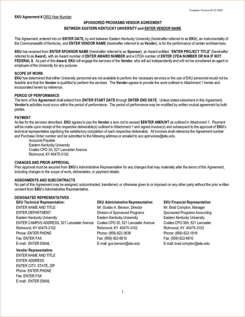 Supplier Agreement Template