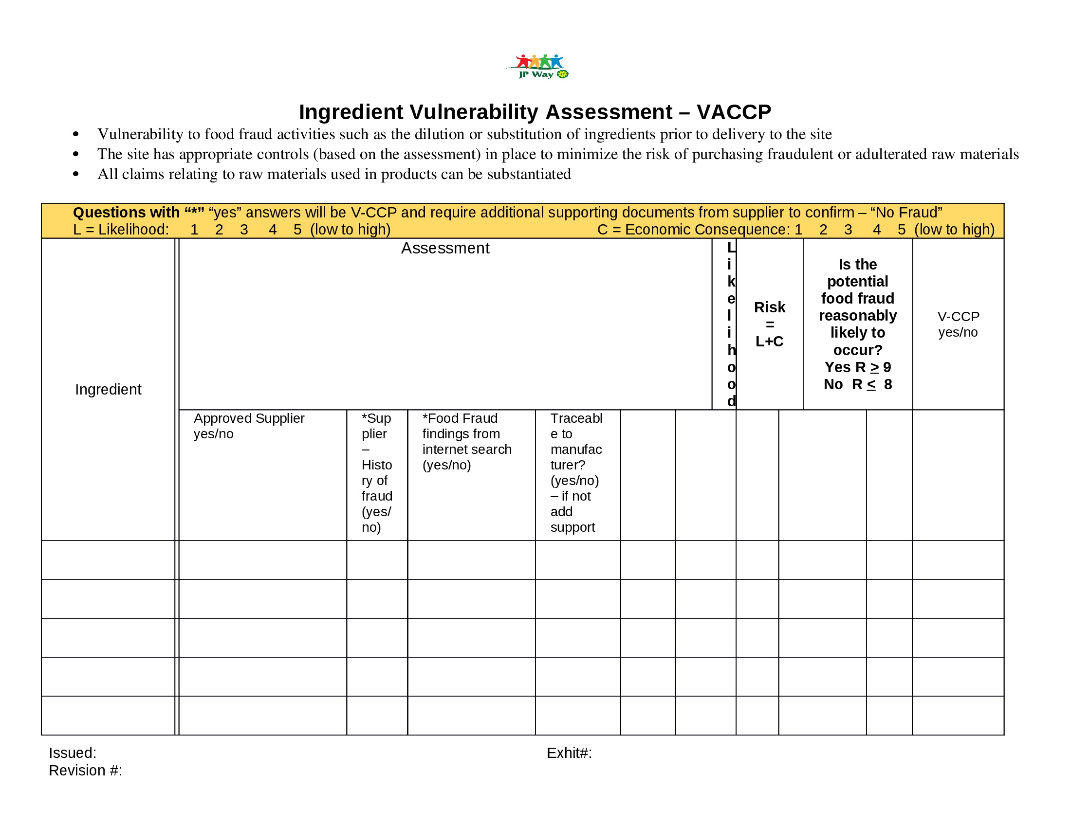 Vulnerability Risk Assessment Template