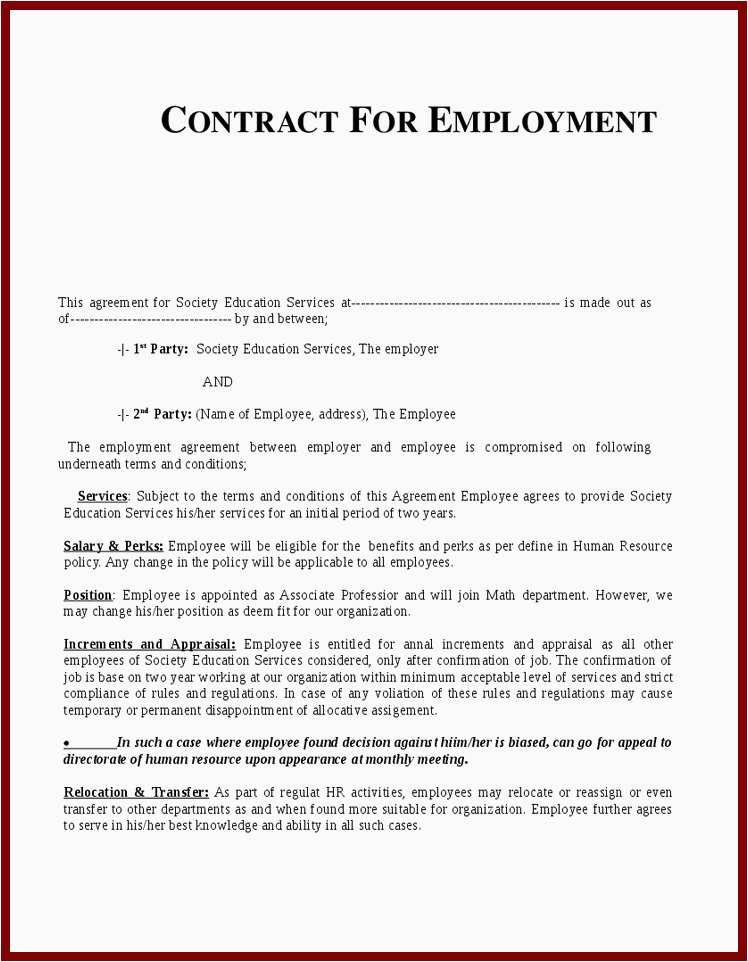 1099 Employee Contract Sample