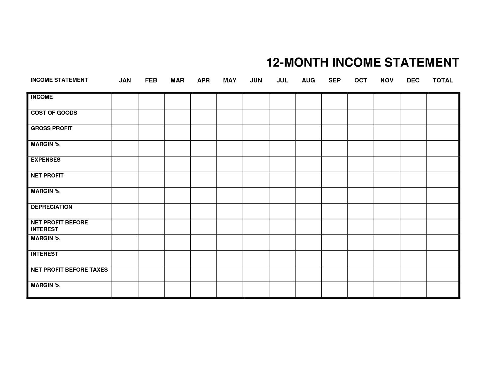 12 Month Profit And Loss Statement Template