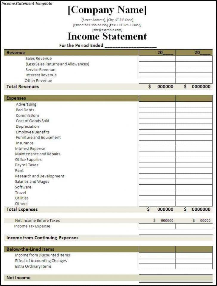 3 Month Profit And Loss Statement Template
