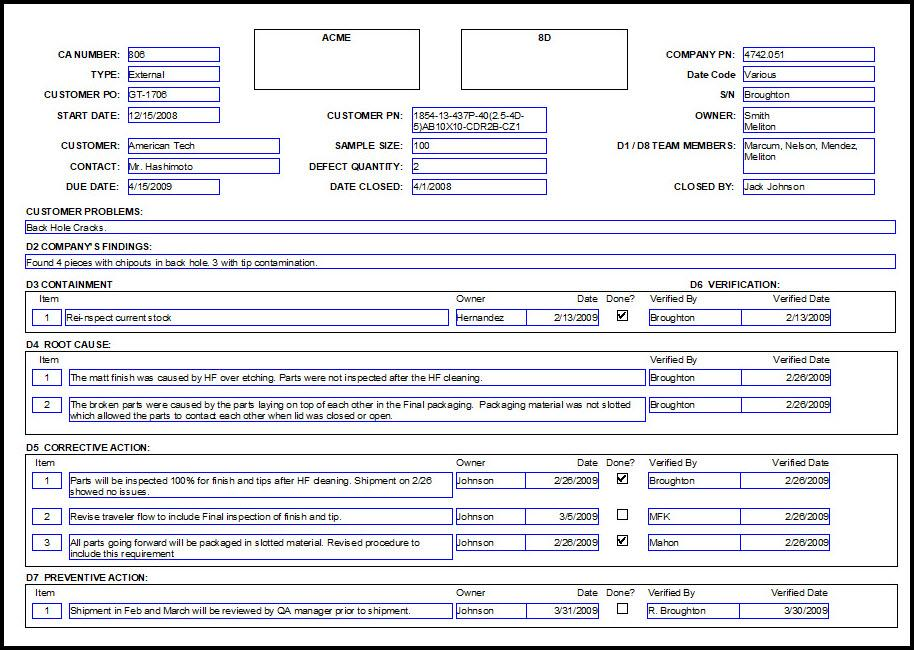 8d Corrective Action Form Template