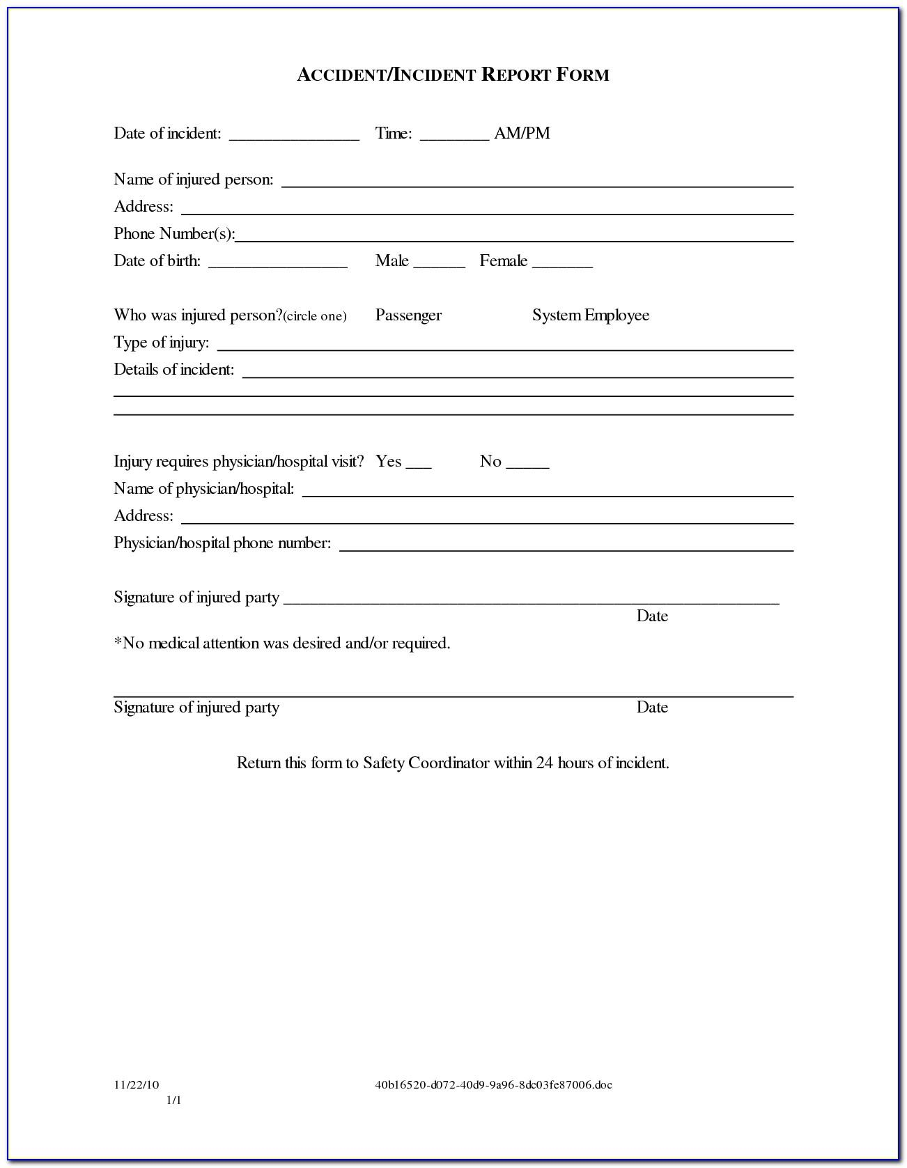 Accident Liability Release Form Template
