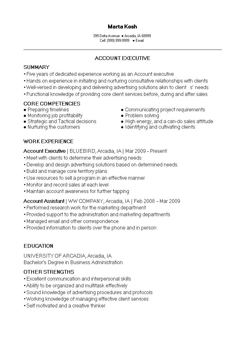 Account Executive Resume Sample Free