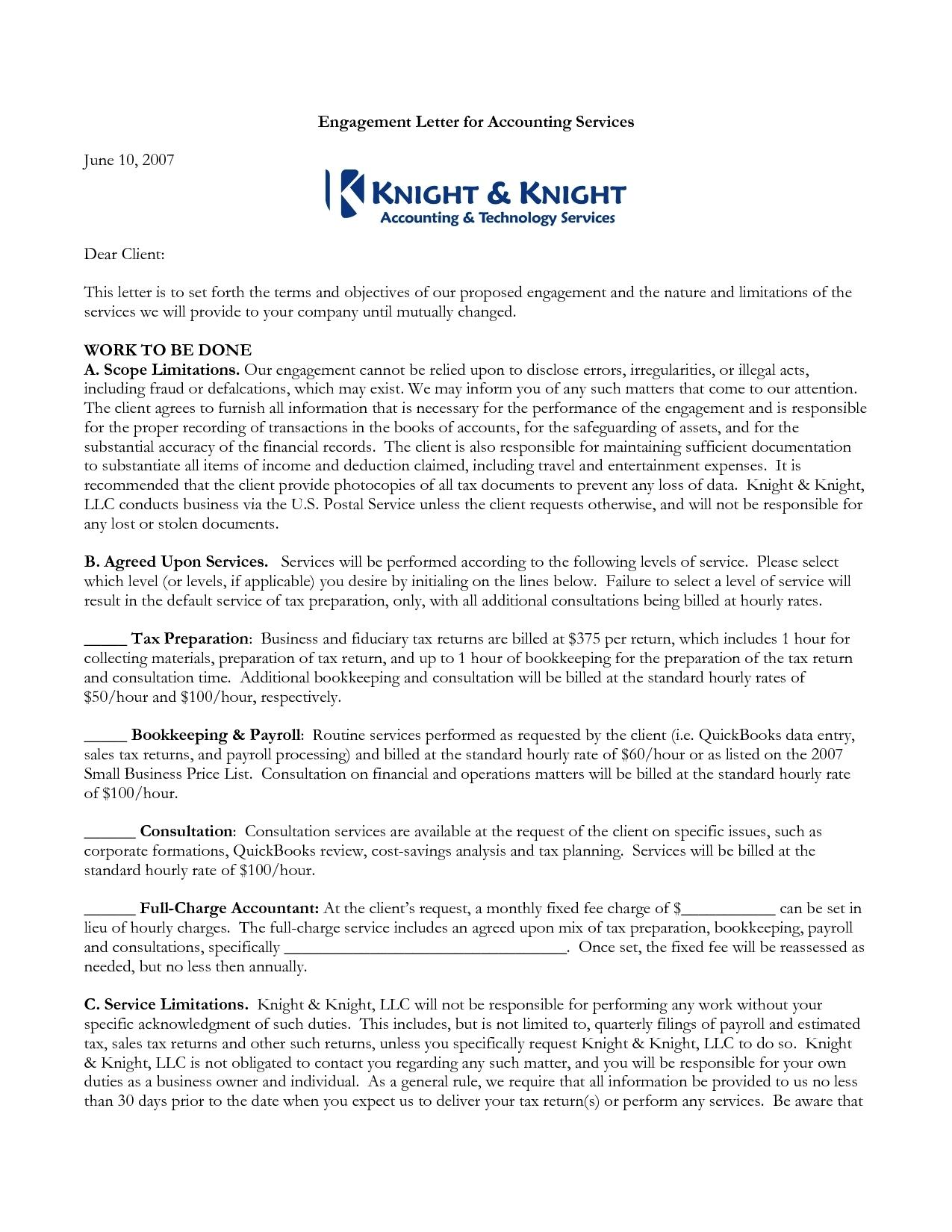 Accounting Engagement Letter Sample