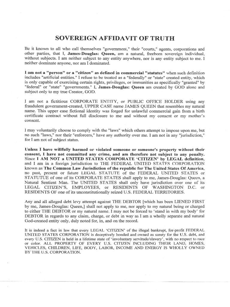 Affidavit Of Truth Template Pdf