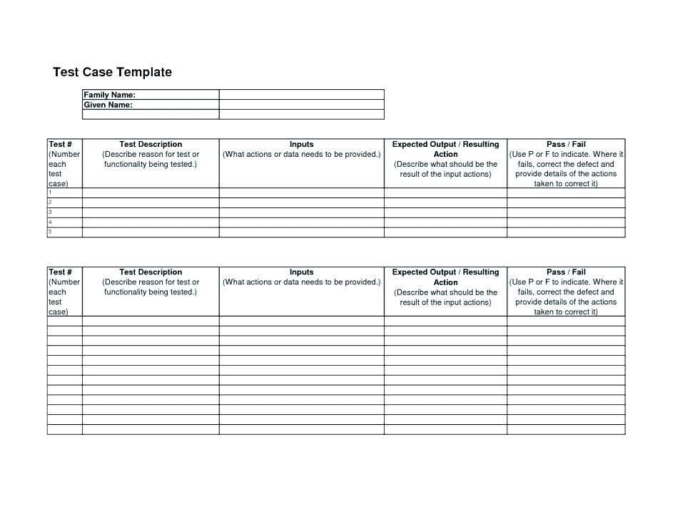 Agile Test Case Template