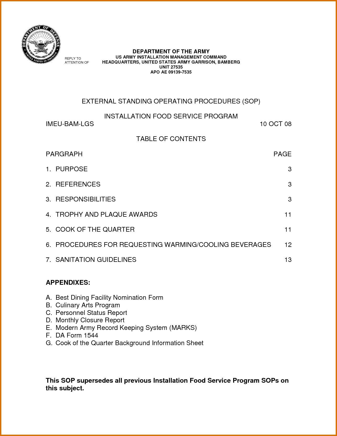 Army Safety Sop Template
