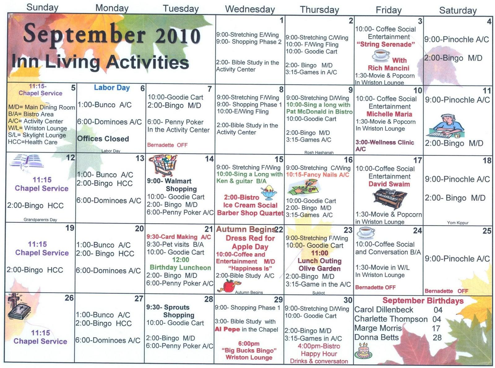 Assisted Living Activity Calendar Template
