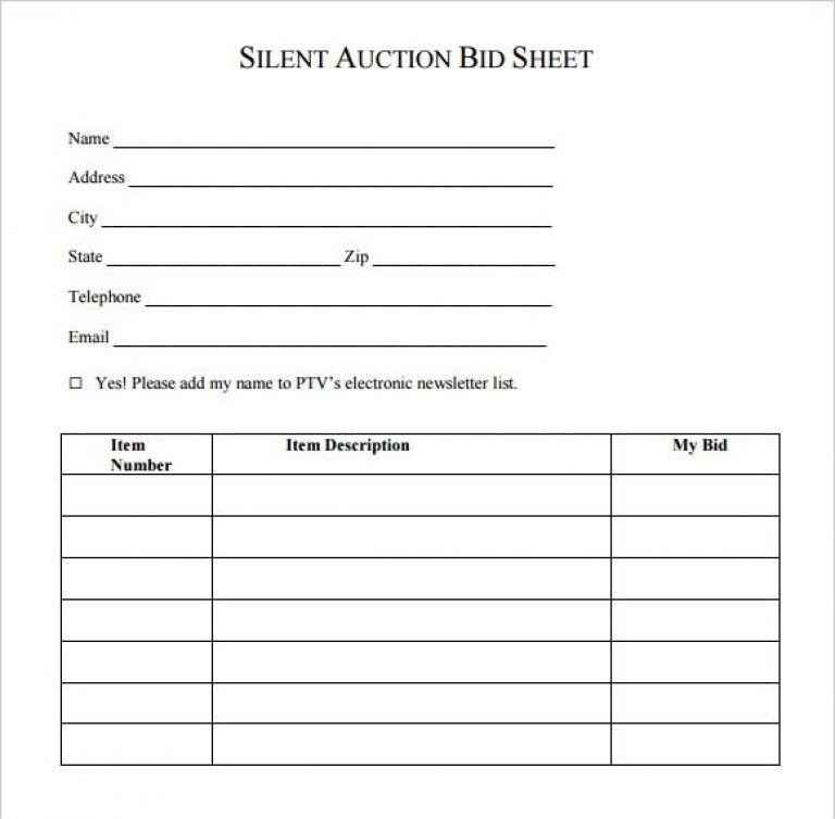 Auction Bid Sheet Template Free