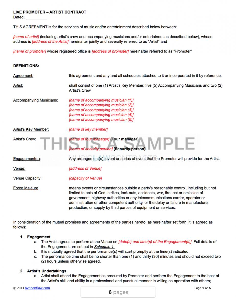 Band Rider Contract Template