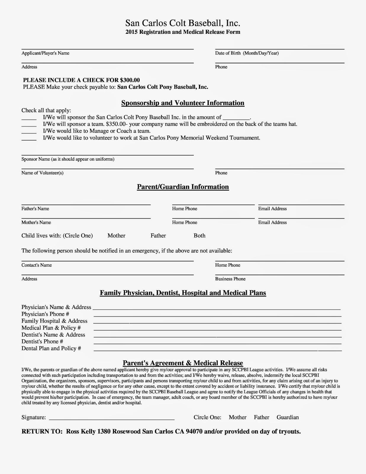 Baseball Tryout Registration Form Template