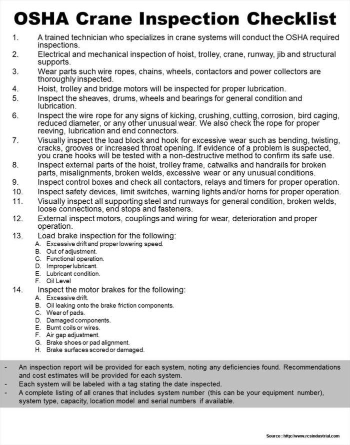 Basic Forklift Inspection Checklist Template