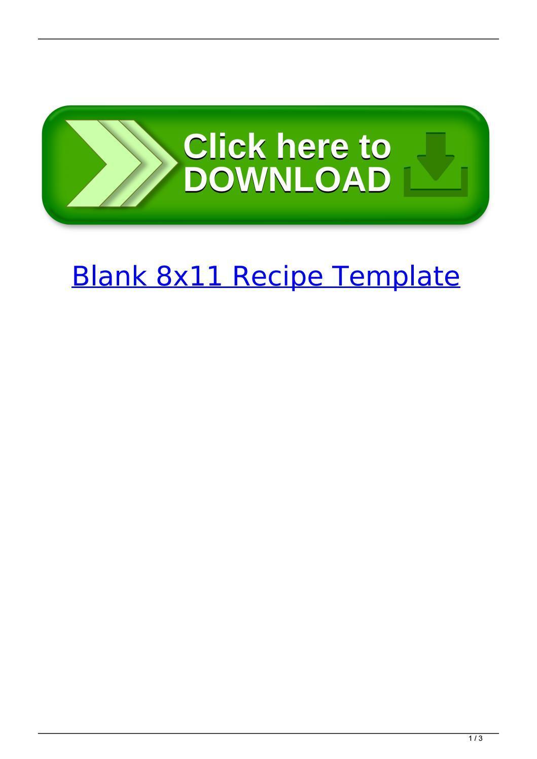 Blank Recipe Template 8x11