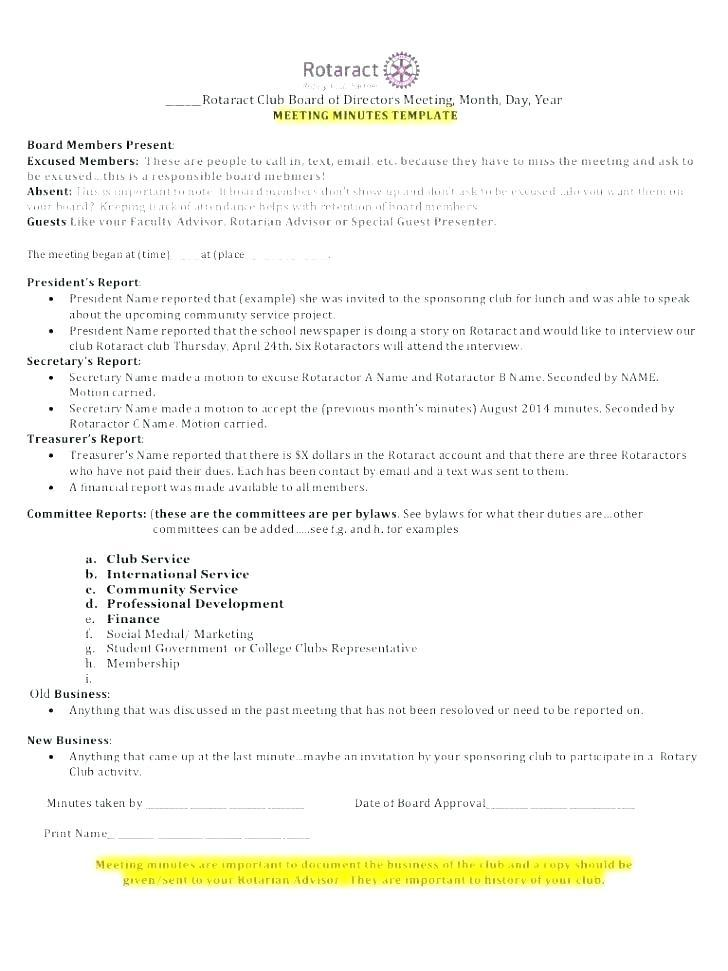 Board Of Directors Meeting Minutes Template Doc