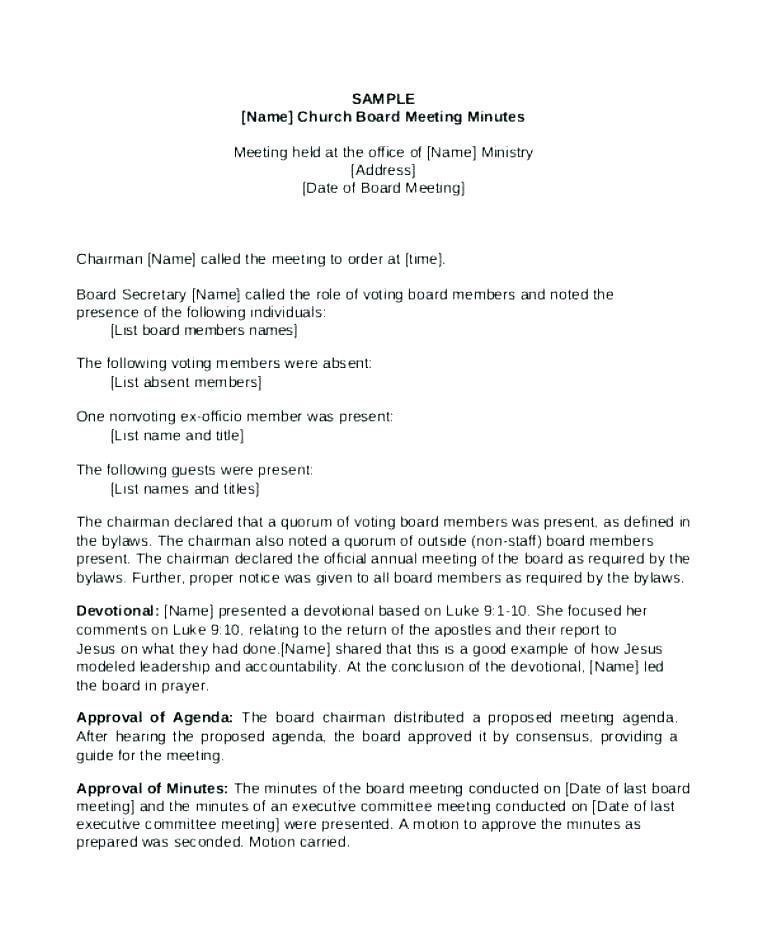Board Of Directors Meeting Minutes Template Uk