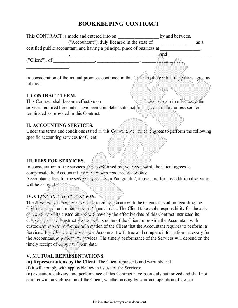 Bookkeeping Contract Template Free