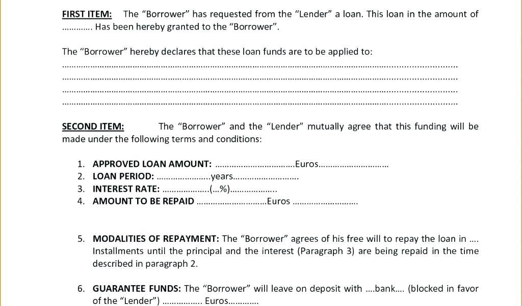 Borrowing Money Contract Example