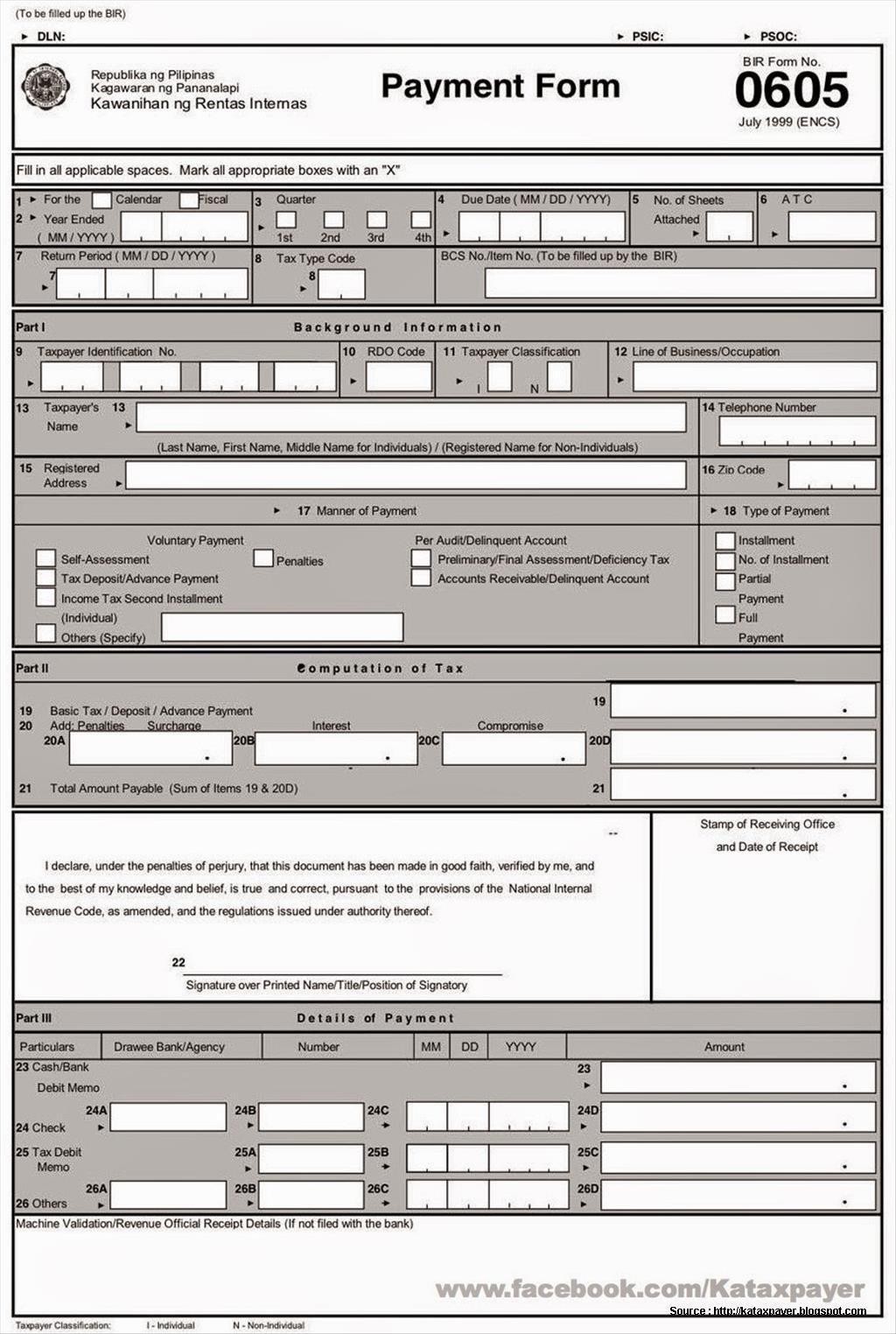 Bureau Of Internal Revenue Forms