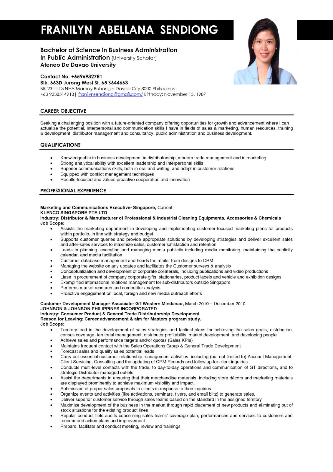 Business Administration Graduate Resume Sample