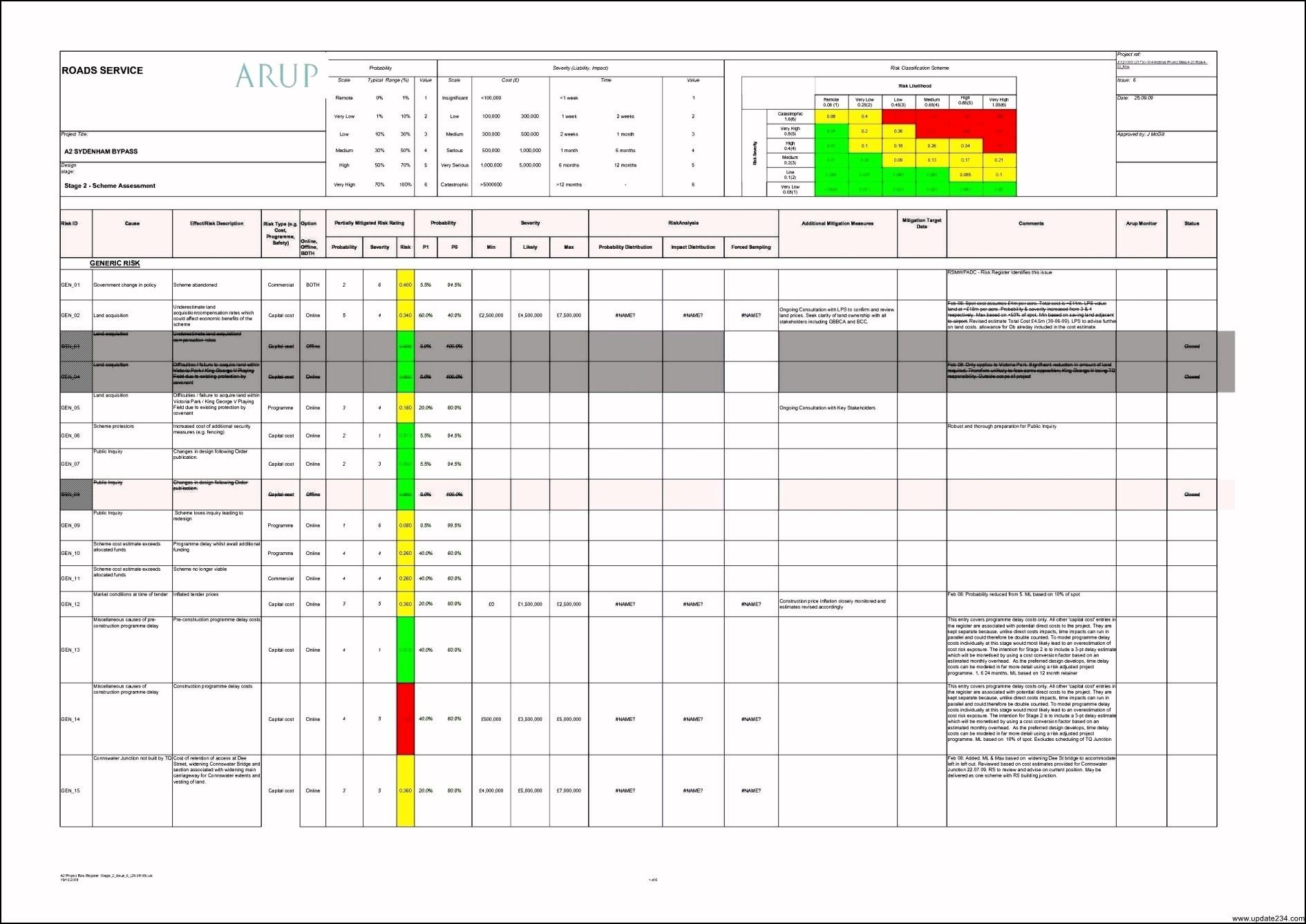 Business Risk Assessment Template Xls