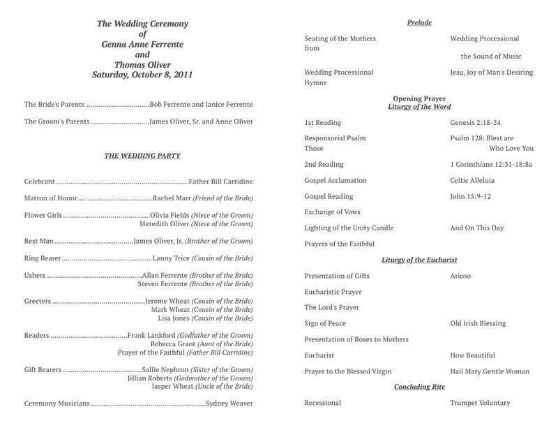 Catholic Mass Wedding Program Template