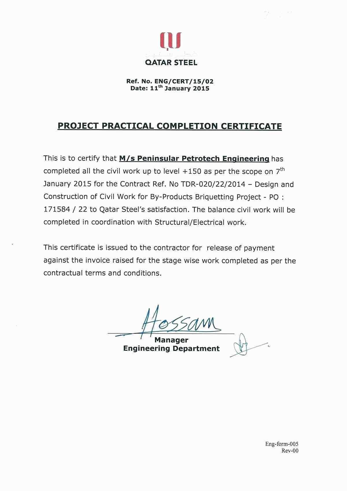 Certificate Of Completion Construction Sample