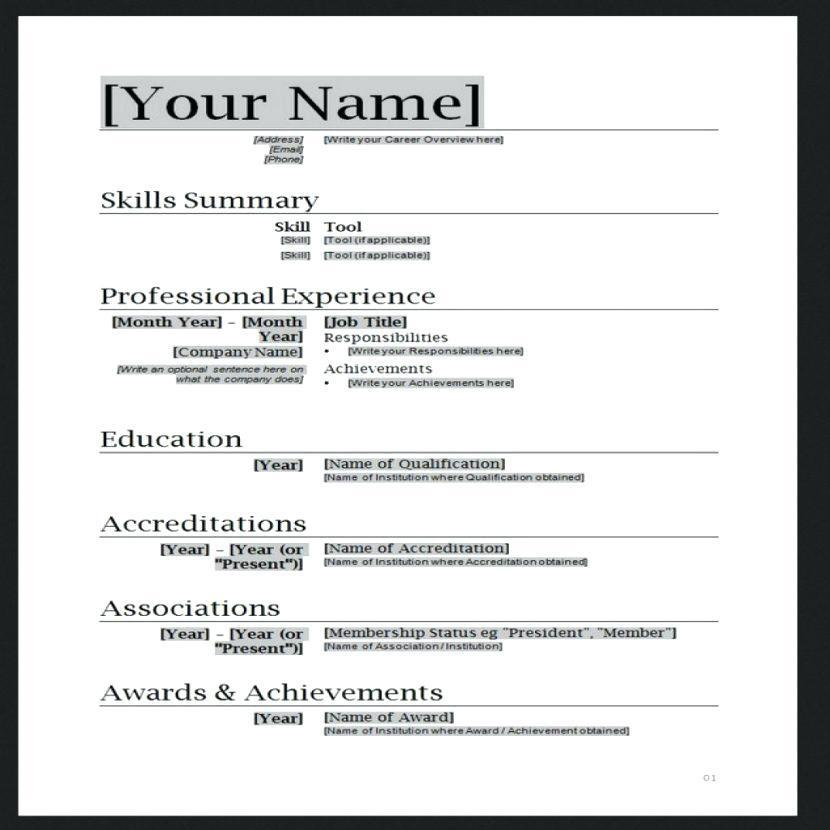 Chef Resume Templates Word