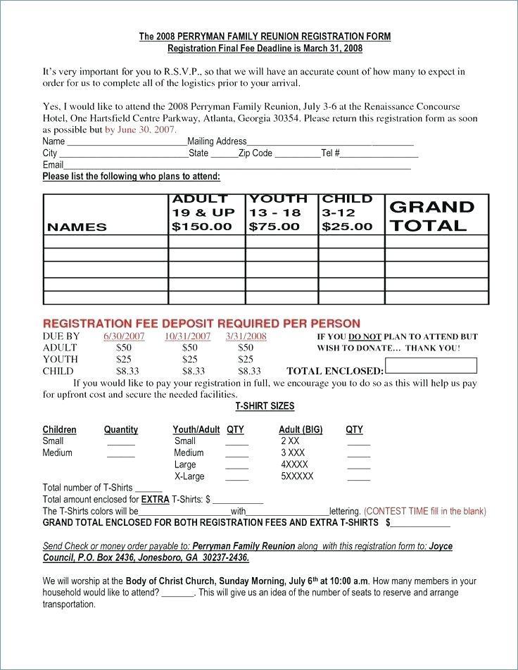 Childrens Church Registration Form Template