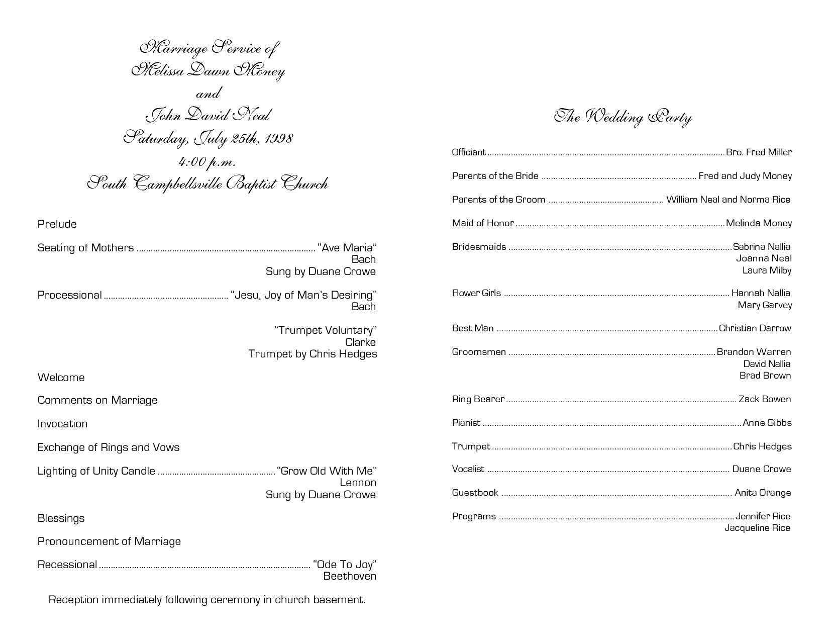 Christian Church Wedding Program Template