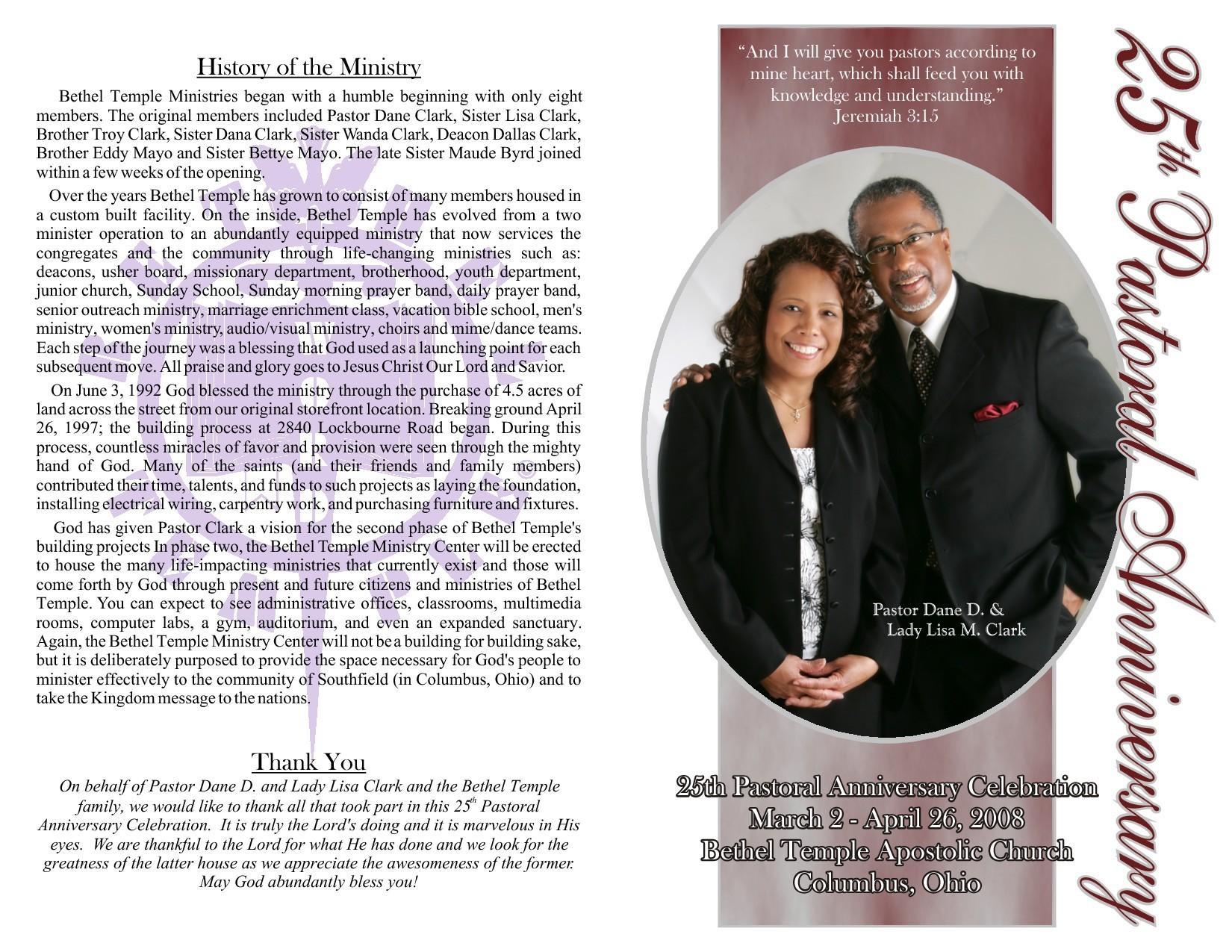 Church Anniversary Program Template Free