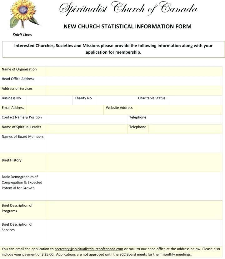 Church Membership Form Template Pdf