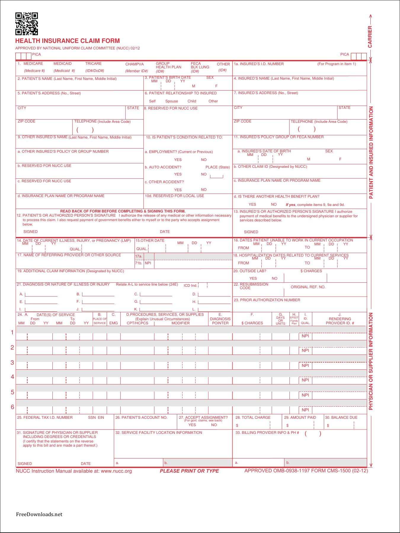 picture regarding Cms 1500 Form Printable named Cms 1500 Assert Style Template - Templates #28714 Resume