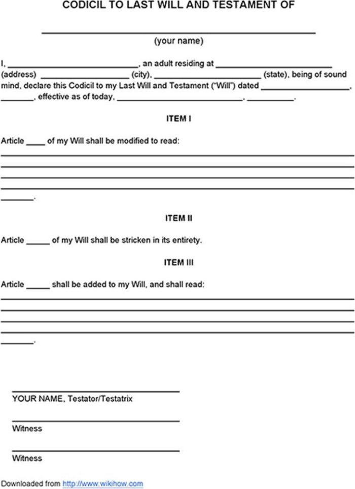 picture relating to Printable Codicil to Will called Codicil Toward A Will Template Canada - Templates #Mjg3NjQ
