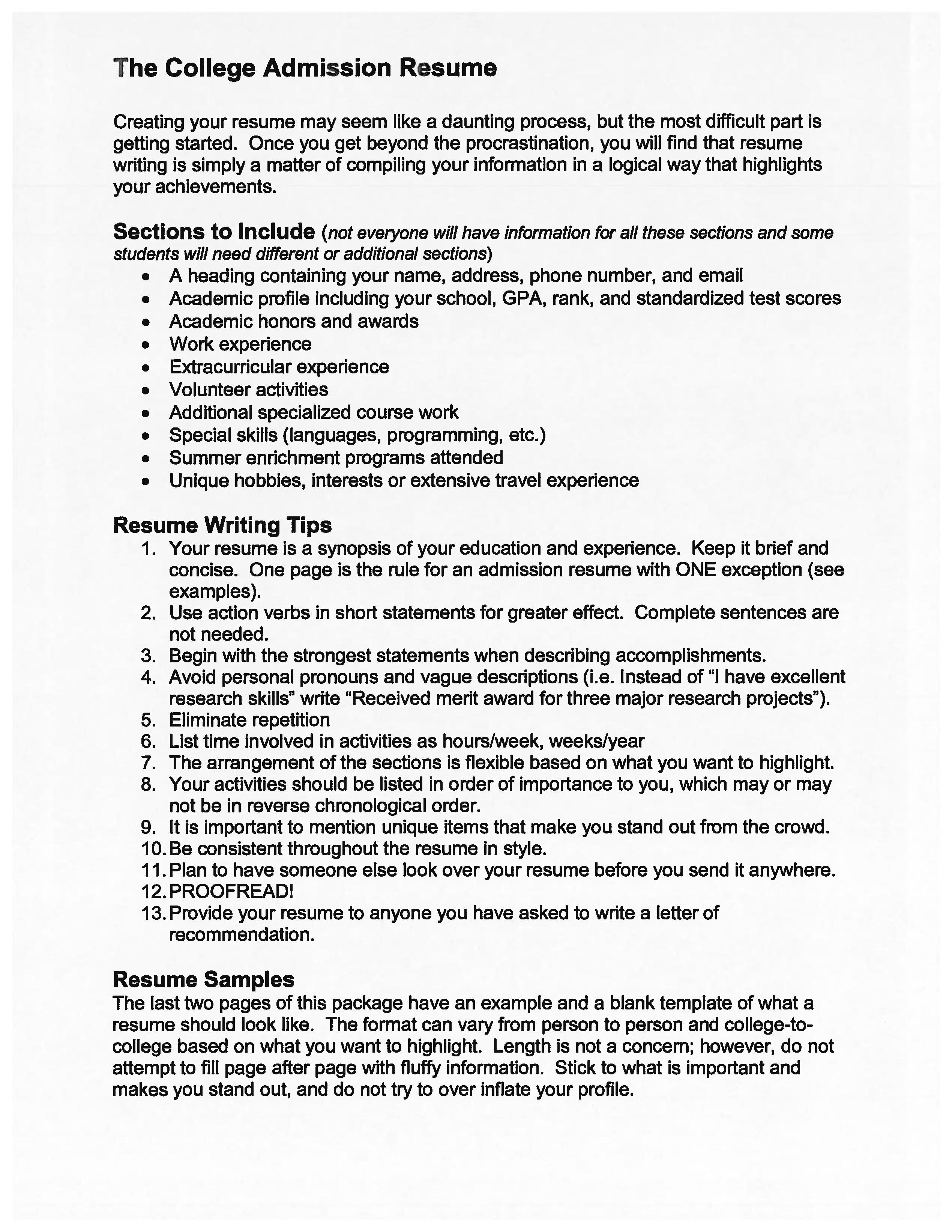 College Admission Resume Templates Free