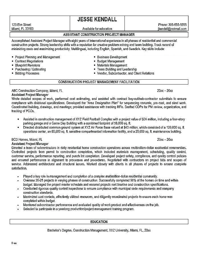Construction Operations Manager Resume Template