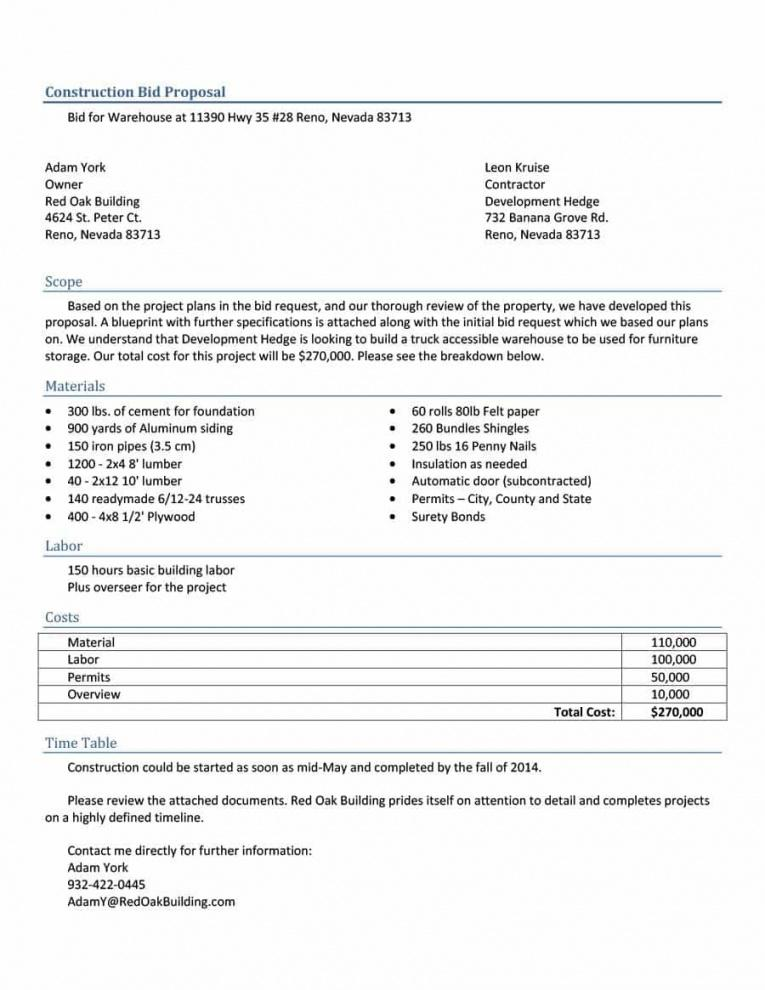 Construction Proposal Form Template