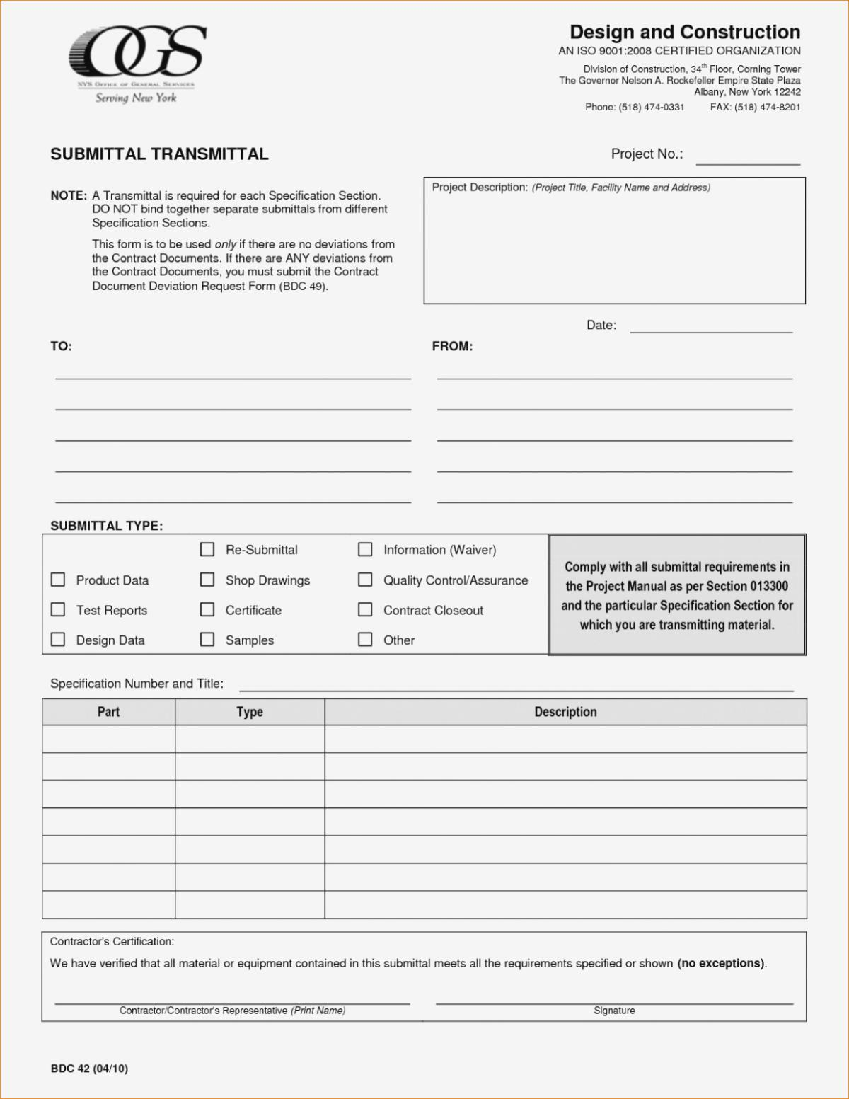 Construction Submittal Form Template