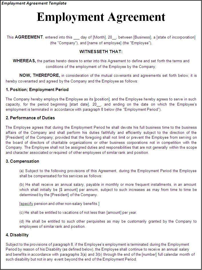 Contract Employment Contract Template