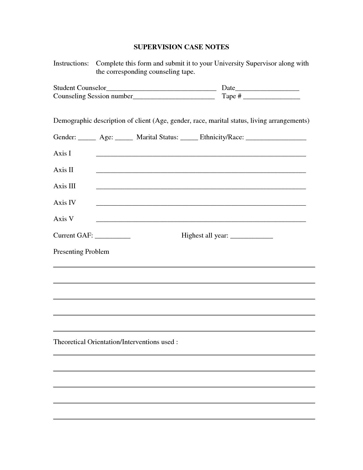 Counseling Case Notes Sample