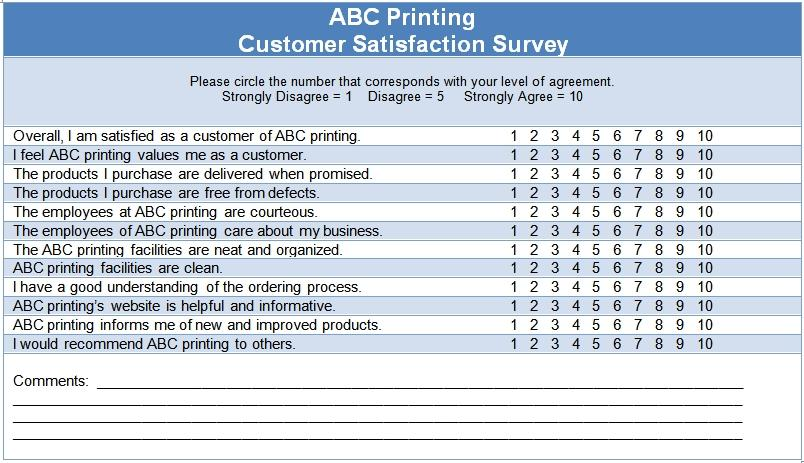 Customer Satisfaction Survey Questions Template